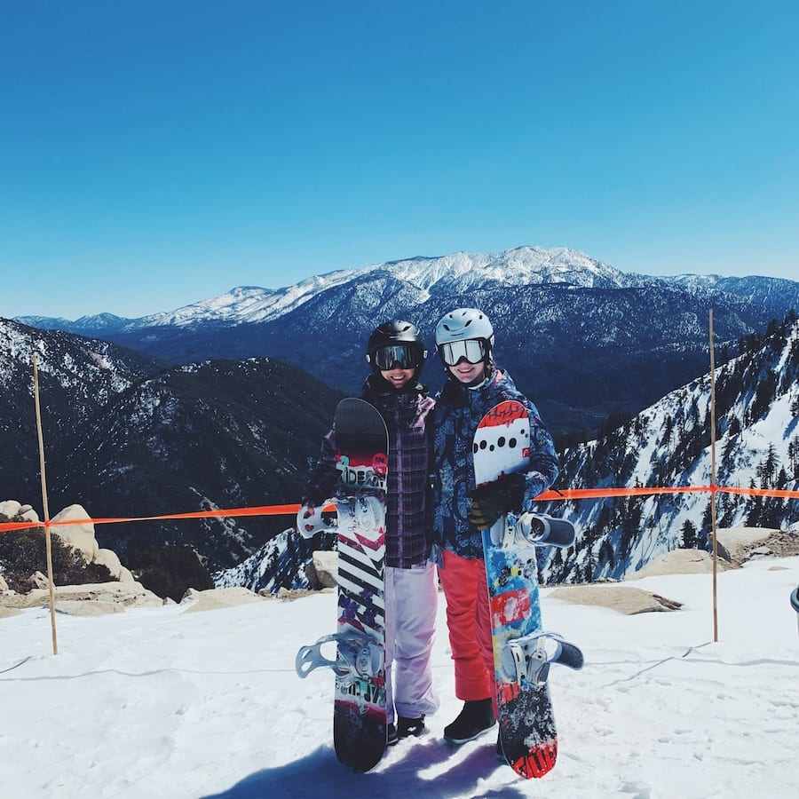 My daughter and I snowboarding