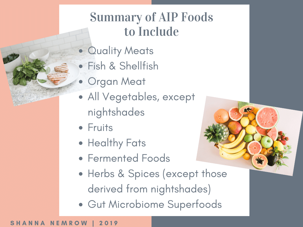 Autoimmune Protocol (AIP) Summary of Foods to Include